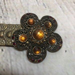 Accessories - Bronze Metal Elastic Bejeweled Flower Belt